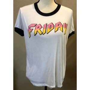 Wildfox Heavy Metal Friday Ringer T Shirt Size Med